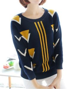 Casual Jewel Neck Long Sleeves Geometric Printed Sweater For WomenSweaters & Cardigans Indie Outfits, Indie Clothes, Fashion Outfits, Dress For Success, Collar Styles, Cardigans For Women, Autumn Winter Fashion, Jewel, Knitwear