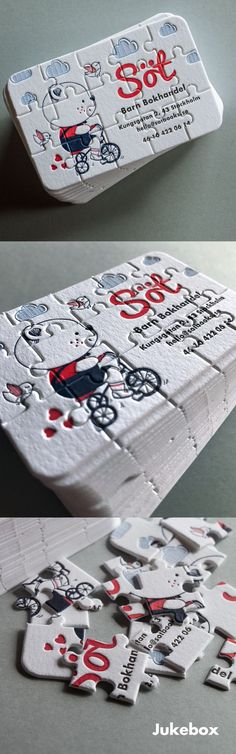 How adorable! Letterpress Business Cards produced in a real Puzzle shape.   Made by Jukebox: