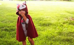 Fox Cape Halloween Costume Kids Dress Up Burgundy Red Fleece Hooded via Etsy