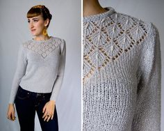 Vintage 1980s Grey Knit Eyelet Beaded Faux Pearls Sheer Sweater // 80s Diamond Cut Out Romantic Long Puff Sleeve | size XS S | by Birthday Life Vintage on Etsy | $28.00