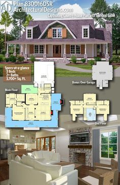 Architectural Designs House Plan 830016DSR Gives You 3 Beds, 2+ Baths,  3,700+
