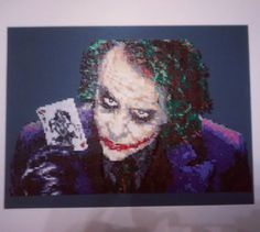 Heath Ledger as the Joker by clockworkdragonfly. Over 16000 beads and about 25 hours. #Batman
