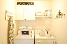 Labels in the laundry room make sure that everyone who does it is on the same page!  www.simply-simplify.com