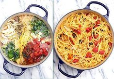 Tomato Basil Pasta  1 LB Linguine  1 can 15 oz diced tomatoes w/ liquid   1 LG onion, sliced  4 cloves garlic, thinly sliced  1/2 tsp red pepper flakes  2 tsps dried oregano leaves  2 large sprigs basil, chopped  4 1/2 cups vegetable broth  2 Tblsp olive oil    Throw it all in the pot, INCLUDING the uncooked pasta. Bring to a boil,  reduce to a simmer. The starch leaches out of the pasta & makes a rich, warm sauce for the noodles. The other ingredients cook right along w/ the pasta