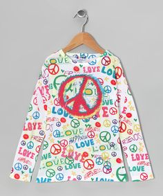 Take a look at this Happy Kids Dizzy Peace Sublimation V-Neck Top - Girls by Made in the USA Collection on #zulily today!
