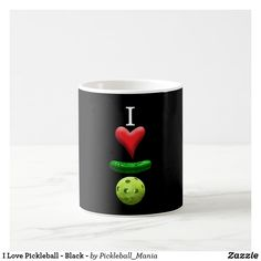I Love Pickleball - Black - Coffee Mug
