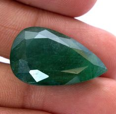 Natural Emerald Pear Cut 27x16 mm 24.25 Cts Certified Untreated Faceted Deep Green Shade Loose Gemstone Natural Emerald, Shades Of Green, Loose Gemstones, Pear, Rings For Men, Trending Outfits, Unique Jewelry, Handmade Gifts, Nature