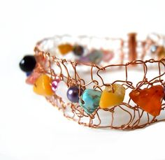 Multi-Coloured Copper Bracelet Bangle Bracelet Cuff Statement Jewelry by imwyred
