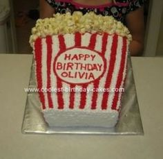 Homemade Bag of Popcorn Birthday Cake: This Bag of Popcorn cake was made for a neighbor whose daughter was having a movie-themed birthday party.  Her invitations were shaped like popcorn so