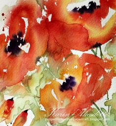 Peppermint Patty's Papercraft: Sunday Watercolors: Loosening up - Poppies!