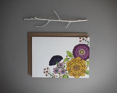 spring flower greeting card . blank card . floral greeting card .hand drawn stationery . orange pink purple flowers . on Etsy, $5.75