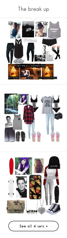 """""""The break up"""" by xofrnk-ieroxo ❤ liked on Polyvore featuring Calvin Klein Underwear, Hot Topic, EyeBuyDirect.com, Therapy, NIKE, Charlotte Russe, Boohoo, Frame, Canon and Aéropostale"""