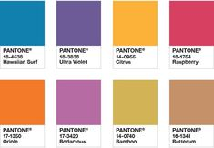 pantone-color-of-the-year-2018-palette-attitude. hawaiian surf_ ultra violet_ citrus_ raspberry_ oriole_ bodacious_ bamboo_ butterum