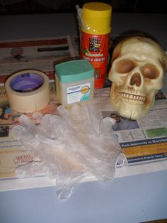 #1 Great Stuff Skulls. Supplies needed: cheap hallow plastic skull, great stuff, vaseline, masking tape, gloves. Cut skull cap evenly off behind ears.Lightly coat entire inside with vaseline.Spray in GS, making sure to get jaw, teeth & eye area thoroughly. Fill about 2/3 full. Tape skull cap on. Stick GS tube through tape, spray in a little more. Do not overfill. Let cure about 3-4 days. See pics 2,3 & 4.