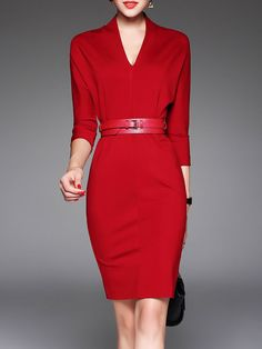 Shop Midi Dresses - Red Sheath V Neck Plain 3/4 Sleeve Midi Dress online. Discover unique designers fashion at StyleWe.com.