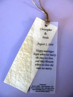 Wedding Favor - Plantable bookmarks with customized text - for readers or seeders!