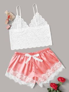 Floral Lace Bralette With Satin Shorts 14 00 cuteshopp Cute Sleepwear, Satin Sleepwear, Sleepwear Women, Lingerie Party, Lingerie Outfits, Lingerie Set, Lingerie Underwear, Mode Kimono, Babydoll