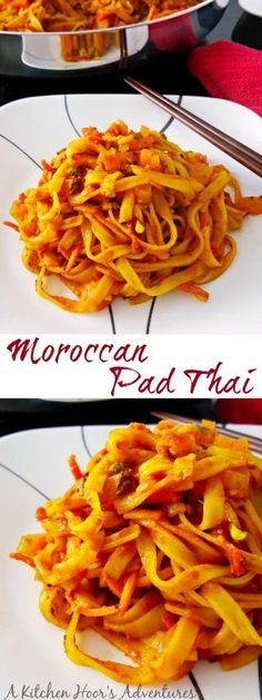 Moroccan Pad Thai is full of rice noodles, carrots, zucchini and delicious spices. It has the look and feel of pad Thai, but with a delicious Moroccan twist to the flavors.