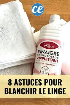 Comment blanchir le linge blanc facilement et naturellement ? Voici les meilleures astuces pour blanchir le linge ancien qui a jauni ou devenu gris en utilisant du : bicarbonate, vinaigre blanc, percabonate, aspirine, citron, eau oxygéné et sans utiliser de javel. Vous pouvez laver le linge à la main ou en machine pour le blanchir. #blanchirlinge Soap, How To Plan, Bottle, Diy, Voici, Vape Tricks, Homemade Shower Gel, Homemade Drain Cleaner, Miracle Cleaner