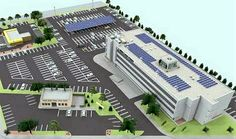 Artist rendering of the new roof with solar panels and wind turbines