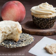 White Peach Cupcake with Brown Sugar Frosting