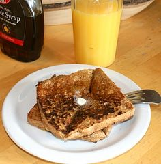 Egg Nog Toast! (I clicked on the picture but can't get to the recipe. It's probably just eggs,egg nog, nutmeg, and vanilla, eh? It's a great idea!!)
