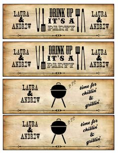 Printable BBQ Beer OR Water Bottle Labels Wedding by PuzzlePrints