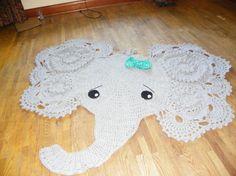 Crochet female elephant Rug, Nursery decor, Home decor, Elephant Play Mat