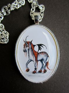 Gothicorn Fairy Unicorn pendant necklace made to order by Amy Brown by AmyBrownArt on Etsy