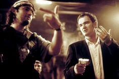 "Robert Rodriguez and Quentin Tarantino on the set of the 1996 film ""From Dusk Till Dawn""."