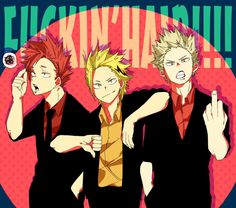 My Hero Academia - Kirishima, Kaminari & Bakugou | These Guys look so hot with their Hair back