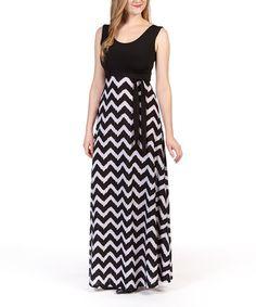 Another great find on #zulily! Black & White Chevron Tie-Waist Maxi Dress #zulilyfinds