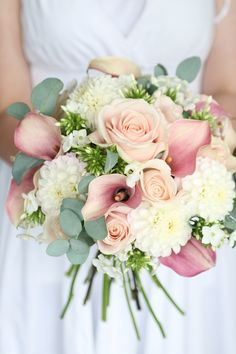 Wedding bouquet of sweet avalanche roses, dahlia, calla lilies, phlox and eucalyptus. Liberty Blooms, Edinburgh / East Lothian Florist