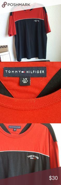 🛑(MAKE OFFER) TOMMY HILFIGER MEN'S SHIRT Red and black but my eyes make it look a bit blue Tommy Hilfiger Shirts Tees - Short Sleeve