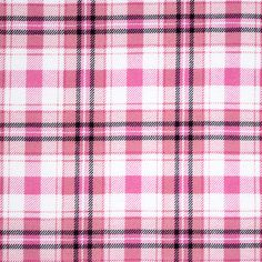 "Shannon Plaid Cotton Spandex Blend Knit Fabric - A exclusive designer overstock score!  On trend brighter plaid in dusty pink, bright pink, and black on a white super soft poly cotton spandex blend knit.  Fabric has a soft hand, slight 4 way stretch, stable hand, and is mid weight.  Plaid has a 3 1/2"" repeat (see image for scale).  A versatile fabric great for many different applications!  ::  $6.50"