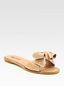 Prada patent leather bow sandals $380 Saks.com