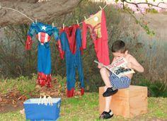 Super Hero photo shoot for little boy
