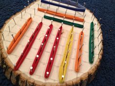 Earlier this week I saw this in Mrs. Webb's classroom. I loved it and asked her – where did you find that? She promptly told me she made it. And it is so simple. Scroll down for instructions. Materials: tree boards (Hobby Lobby) nails a bag of stretchy bands (like you use on those looms …