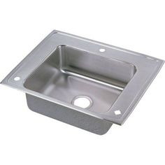 Elkay DRKADQ282255R Lustertone Stainless Steel Single Bowl Top Mount Quick-Clip Sink with 3 Faucet Holes, Multicolor