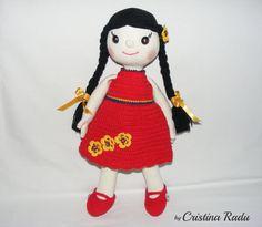 Cute Doll Amigurumi crochet Doll with tight by cutetoysbycristina