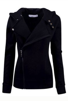 Black Color Wide Lapel Zip-Front Jacket