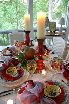 Rooster china. Pretty tablescape