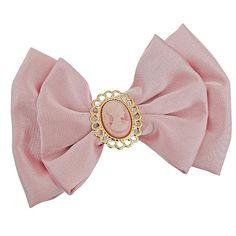 Bow And Cameo Clip ($22) ❤ liked on Polyvore featuring accessories, hair accessories, bows, fillers, pink, women, pink hair accessories and bow hair accessories