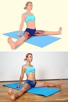 İlgili kaslar: İç bacak kasları ve hamstrings (arka bacak kası). Yere oturu… Related muscles: inner leg muscles and hamstrings (hind limb muscle). Sit down, spread your legs and stretch. Do not bend your knees. Hold your arms as shown and lean forward. Fitness Workouts, Yoga Fitness, Muscle Stretches, Stretching Exercises, Wellness Fitness, Health Fitness, Sedentary Lifestyle, Fitness Style, Back Muscles