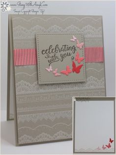SAB2017 Delicate Details; sentiment from the Falling For You stamp set in Early Espresso ink on a panel of Sahara Sand card stock and cut it out with a square Stitched Shapes Framelits Die. Timeless Tags Thinlits butterflies diecut from Pink Pirouette, Blushing Bride, Flirty Flamingo and Watermelon Wonder