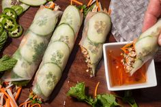 Rice Paper Banh Mi with Five-Spice (saving to veganize, skip chick or sub)  I love how they rolled these, super pretty & easier than my clumsy efforts