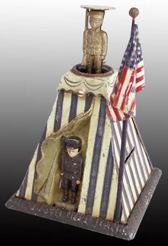 Mechanical Soldiers with tent Die-Cast Iron Coin Bank