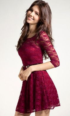 Love Her Elegance Belted Lace Dress