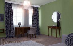 Гостевая комната - Дизайн проект интерьера частного дома в Tachlovice (Прага – Запад) под ключ. Интерьер в классическом стиле. Дизайнер – Инна Войтенко. Строительные, отделочные, монтажные работы – компания ISDesign group s.r.o. Cottage, Curtains, Mirror, Projects, Furniture, Home Decor, Log Projects, Blinds, Blue Prints