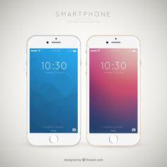 Background of elegant mobile phones Free Vector